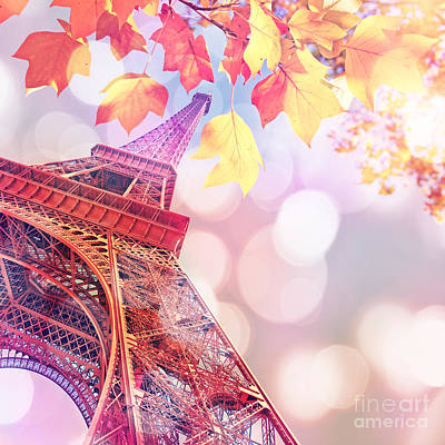 Dreamy Pastel Eiffel Tower Poster by Delphimages Photo Creations