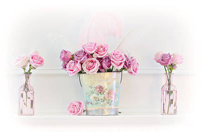 Dreamy Romantic Pink Roses -  Shabby Chic Pink Roses Still Life Poster