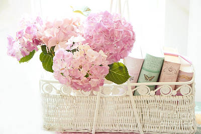 Dreamy Shabby Chic Pink Hydrangeas In Basket - Cottage Hydrangeas And Books  Poster by Kathy Fornal
