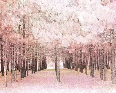 Poster featuring the photograph Dreamy Shabby Chic Pink Nature Pink Trees Woodlands - Pink Nature Nursery Prints Decor by Kathy Fornal