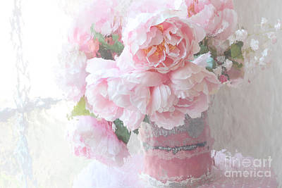 Dreamy Shabby Chic Romantic Pastel Pink Peonies Impressionistic Art - Paris French Peonies Photo Poster