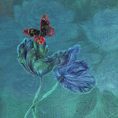 Dreamy Tulip With Gemlike Butterfly Poster