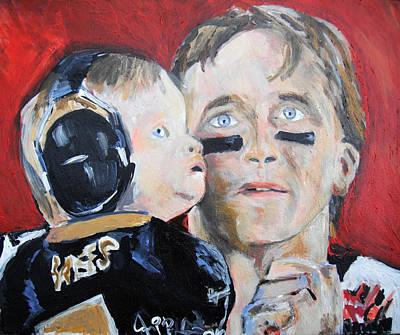 Drew Brees And Son  Poster by Jon Baldwin  Art