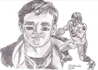 Poster featuring the drawing Drew Brees by Chris  DelVecchio