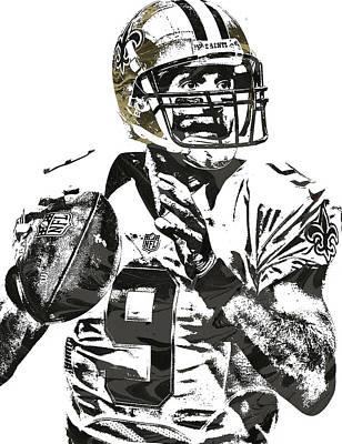 Drew Brees New Orleans Saints Pixel Art 1 Poster by Joe Hamilton