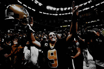 Drew Brees Super Bowl Victory Poster by Brian Reaves