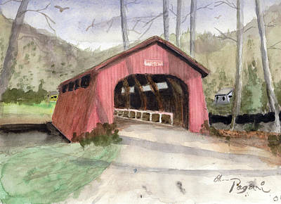 Drift Creek Covered Bridge Watercolor Poster by Chriss Pagani