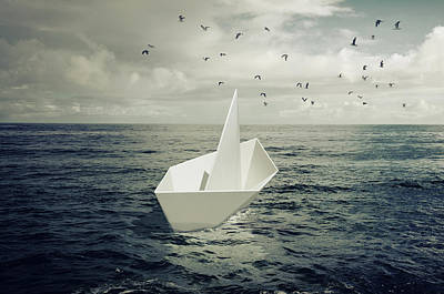 Poster featuring the photograph Drifting Paper Boat by Carlos Caetano
