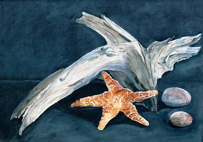 Driftwood And Starfish Poster
