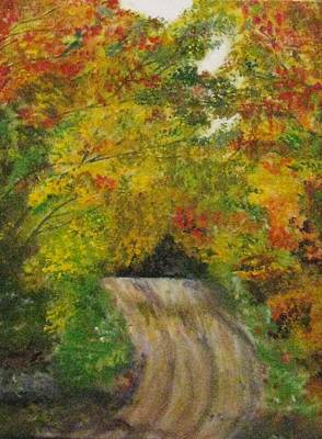 Poster featuring the painting Drive Into Fall by Trilby Cole