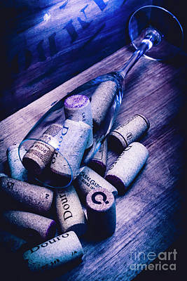 Dropped Champagne Flute With Wine Corks Poster by Jorgo Photography - Wall Art Gallery