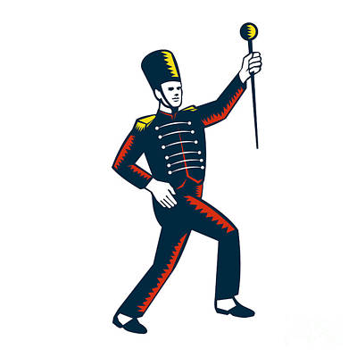Drum Major Marching Band Leader Woodcut Poster by Aloysius Patrimonio