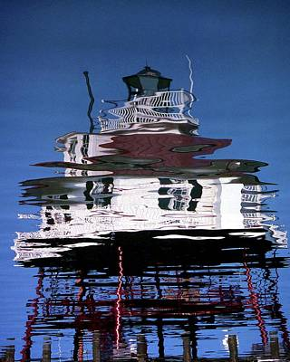 Drum Point Lighthouse Reflection Poster by Skip Willits