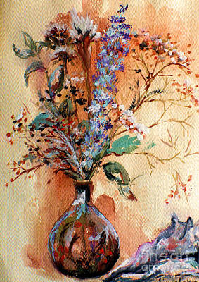 Poster featuring the painting Dry Flowers by Linda Shackelford