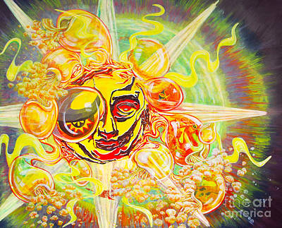 Poster featuring the painting 2015 Cbs Sunday Morning Sun Art-solar Flares by Gail Allen