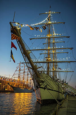 Dual Boston Tall Ships At Night Boston Ma Poster by Toby McGuire