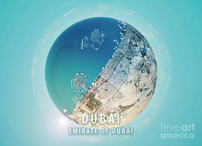 Dubai 3d Little Planet 360-degree Sphere Panorama Poster