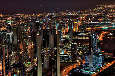 Dubai At Night Poster by Shawn Everhart