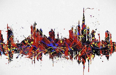Poster featuring the painting Dubai Colorful Skyline by Dan Sproul