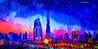 Dubai Skyline 100 - Pa Poster by Leonardo Digenio