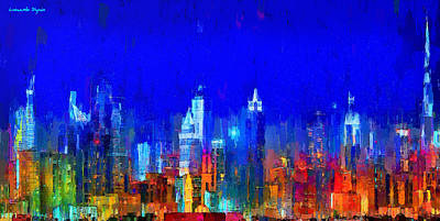 Dubai Skyline 50 - Da Poster by Leonardo Digenio