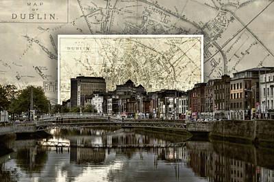 Dublin Skyline Mapped Poster