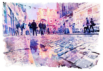 Poster featuring the mixed media Dublin Watercolor Streetscape by Marian Voicu