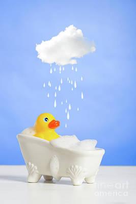 Duck Having A Bath Poster by Amanda Elwell