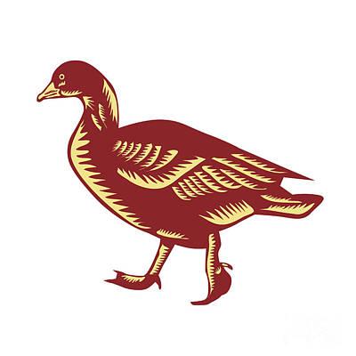 Duck Walking Side Woodcut Poster
