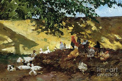 Ducks And Chickens In A Farmyard Poster by Tina Blau-Lang