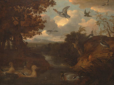 Ducks And Other Birds About A Stream In An Italianate Landscape Poster