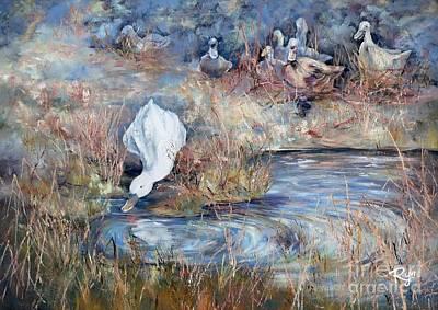 Ducks. Split Opposite Colour Harmony.  Poster