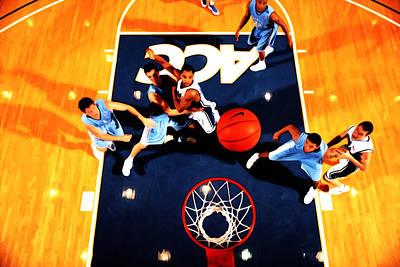 Duke And North Carolina Basketball Rivalry Poster by Brian Reaves