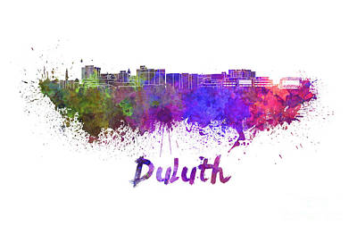 Duluth Skyline In Watercolor Poster by Pablo Romero