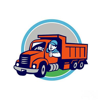 Dump Truck Driver Thumbs Up Circle Cartoon Poster