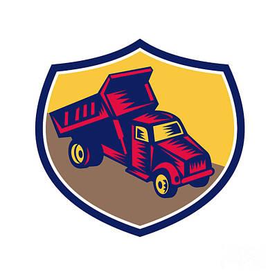 Dump Truck Shield Woodcut Poster