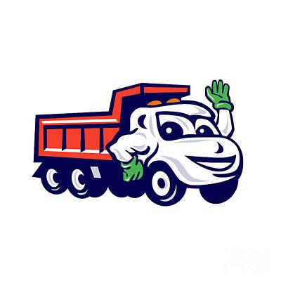 Dump Truck Waving Cartoon Poster