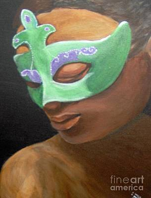 Poster featuring the painting Dunbar's Mask by Saundra Johnson