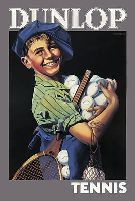 Dunlop Tennis Ball Boy  C. 1920 Poster by Daniel Hagerman