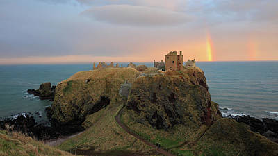 Poster featuring the photograph Dunnottar Castle Sunset Rainbow by Grant Glendinning