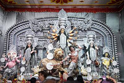 Durga Idol At Puja Pandal Durga Puja Festival Poster by Rudra Narayan  Mitra