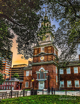 Dusk At Independence Hall Poster