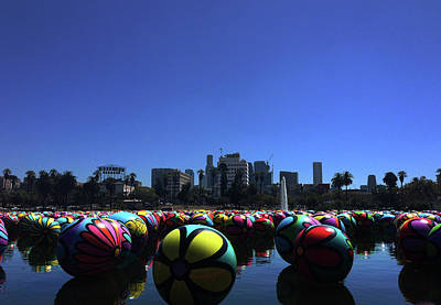 Poster featuring the photograph Dusk Finds The Spheres Of Macarthur Park by Lorraine Devon Wilke