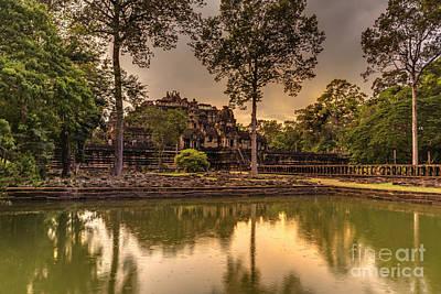 Dusk Light Preah Khan Temple Reflection Poster