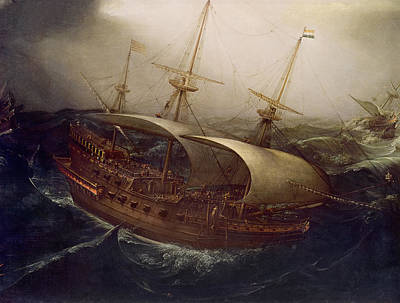 Dutch Battleship In A Storm Poster by Hendrick Cornelisz Vroom
