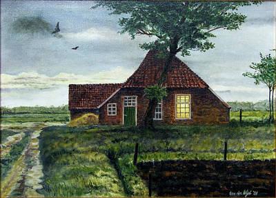 Dutch Farm At Dusk Poster by Arie Van der Wijst