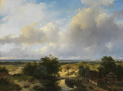 Dutch Landscape With A View Of Haarlem Poster by Andreas Schelfhout