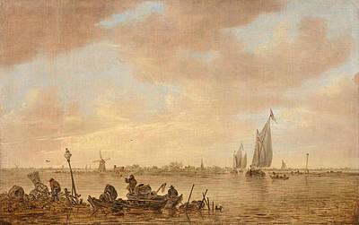 Dutch Seascape With Fishings Boats Poster