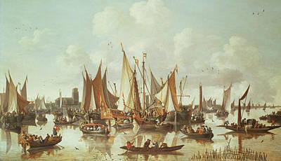 Dutch Ships At Dordrecht Harbor Poster