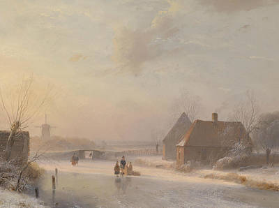 Dutch Winter Landscape With Ice Skaters Poster by Andreas Schelfhout